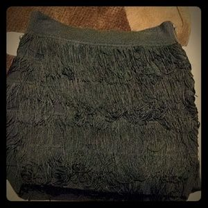 Short black skirt with fringe